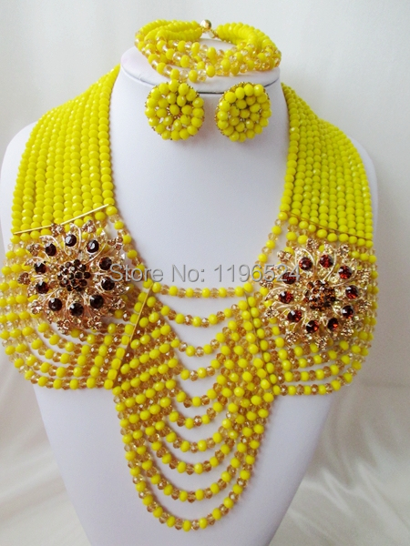 Special offer Luxury crystal beads necklace bracelet earrings Africa Nigeria wedding jewelry set new free shipping A-12195<br><br>Aliexpress