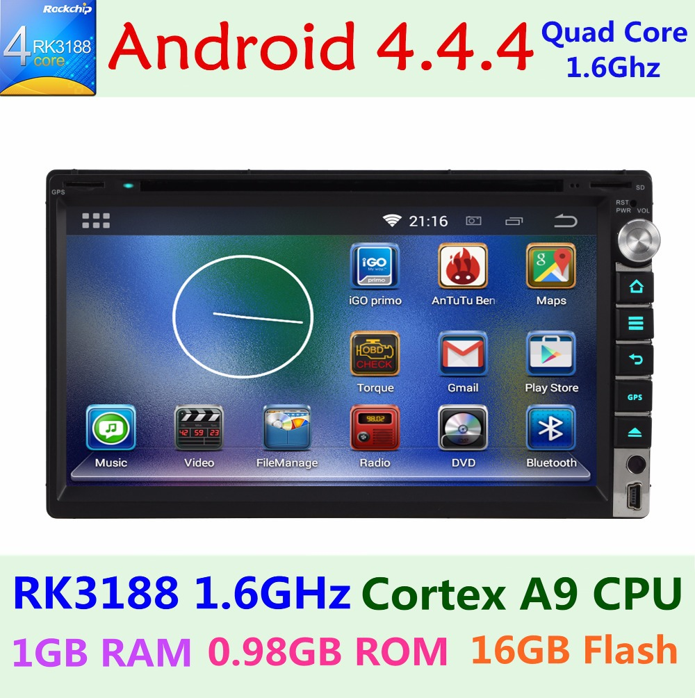 Android 4.4 Car DVD player Universal Double 2 din 2DIN GPS 3G Wifi Bluetooth Radio Quad Core 1.6G CPU DDR3 Touch Screen PC Aduio(China (Mainland))