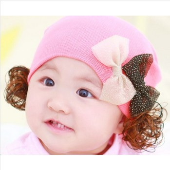 2014 New Arrival Fashion Kids Fall Winter Hat For Girls Starry Double Butterfly Beanie Cap 5 Colors Free Shipping(China (Mainland))