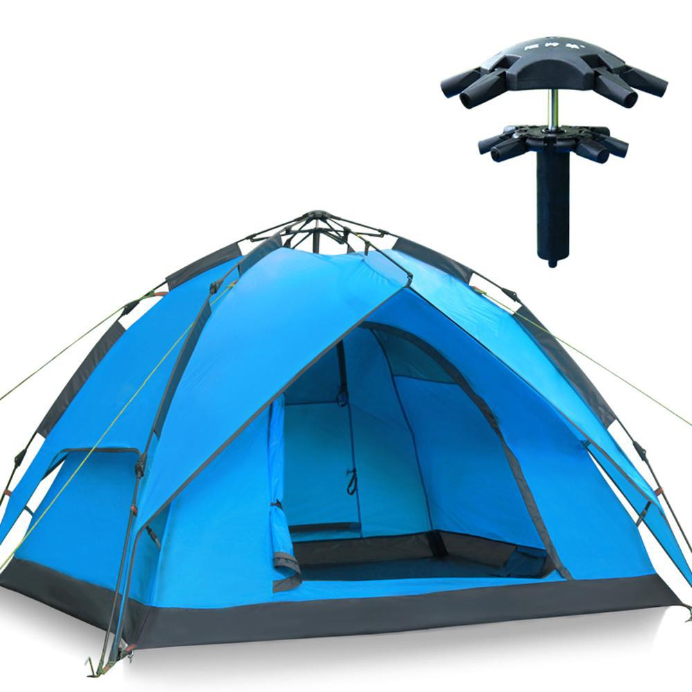 Double Layer Hydraulic Automatic Camping Tents Quick-opening Tent Tourist Blue and Ary Green(China (Mainland))