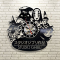 2017 New CD Vinyl Record Wall Clock Modern Spirited Away Studio Ghibli Anime Wall Watch Home