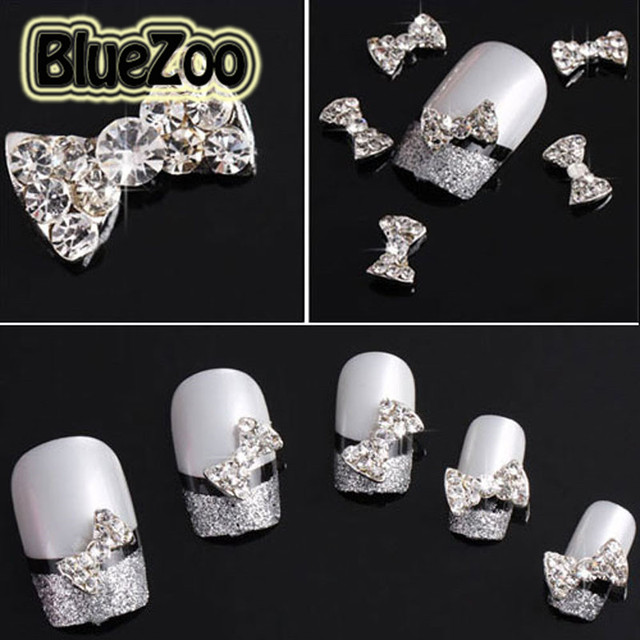 BlueZoo 10pcs/pack Rhinestones Bow Tie 3D Nail Art Decorations Glitters Slices DIY Beauty Tips Nail Stud Makeup Accessories