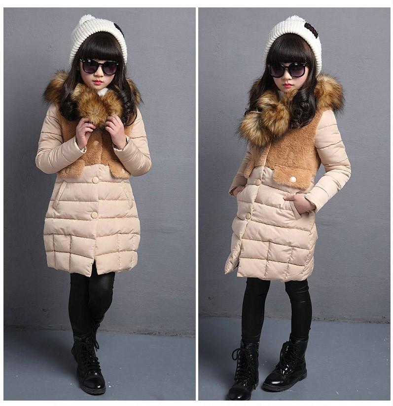 Скидки на Девушки зимние куртки хлопка проложенный с капюшоном пуховик для девочки верхняя одежда пальто средней длины сгущает зима детская парки