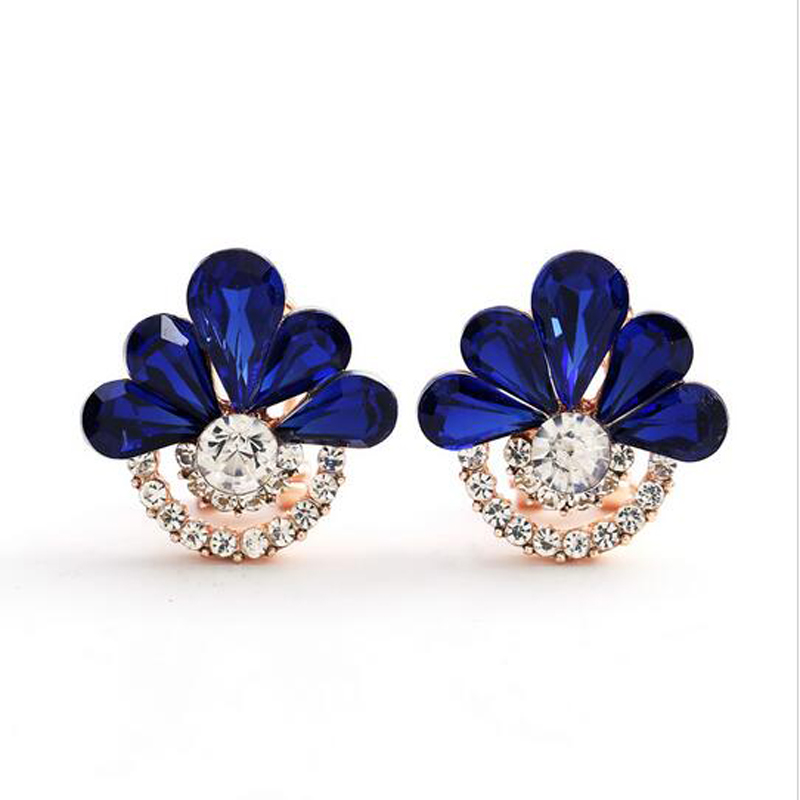 Manufacturers selling 2015 new Korean fashion earrings with Rhine Stone Earrings Clip environmental alloy earrings fine jewelry(China (Mainland))