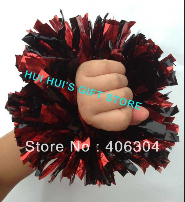 Free shipping,metallic wrist pompom with elastic ,fan cheer leading pom poms,approx.55g.red,black ,green,blue,gold,silver(China (Mainland))