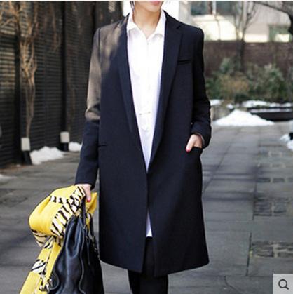 2016 осень новый женский длинное пальто черный маленький широкий блейзер тонкий куртка ...