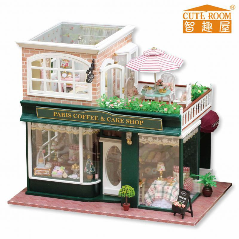 2016 Hot Sale Home Decoration Crafts Wooden Doll Houses Miniature DIY dollhouse Furniture Kit Villa LED Lights Gift A-028(China (Mainland))