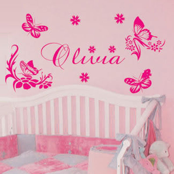Custom Name Butterfly Wall Decor Vinyl Wall Quote Home Decoration Decal Baby Girl Bedroom Wall