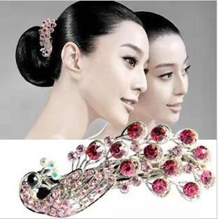 Free ship!20pc!Peacock hairpin / top hair accessory / cross diamond hair clip / Headgear / hair ornament/4 color choice