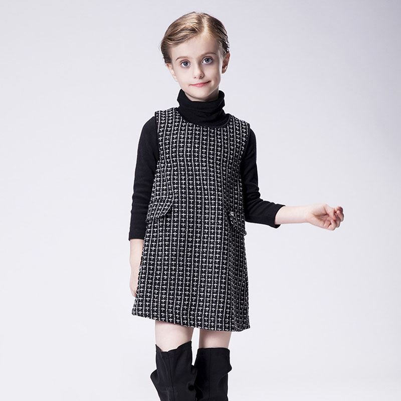 2015 European and American Style Striped Girl Dress Black Sleeveless Kids Plain Dresses with Pocket Cute Children Clothes<br><br>Aliexpress