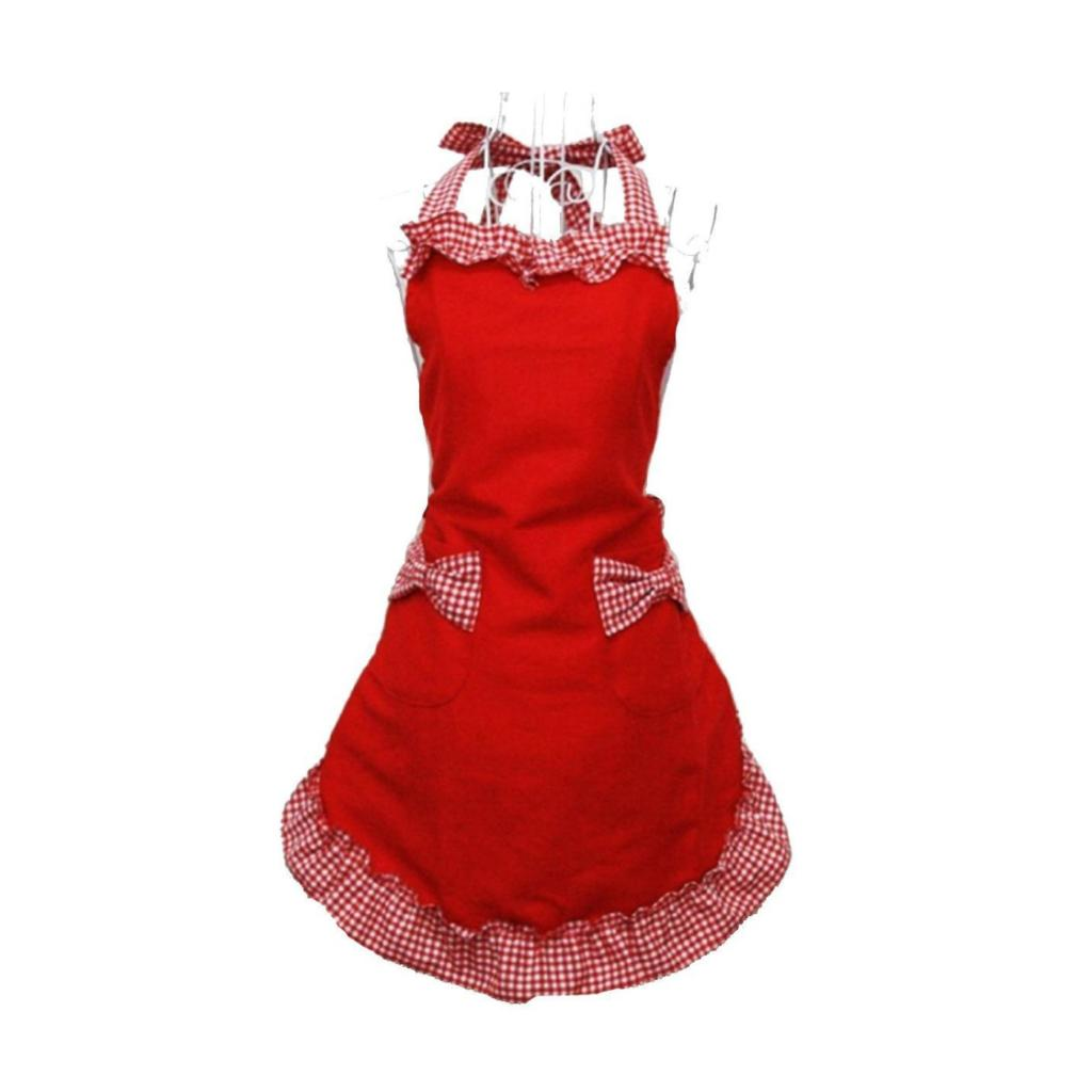 Hot! princess rural style Cotton Grid Pattern Working Chefs Kitchen Cooking Ladies Set Apron with Bowknots Pockets Design Red(China (Mainland))