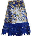 ADF1 Embroidery African French Net Lace with Gold Beadss 5yards For Wedding Dress High Quality Polyester