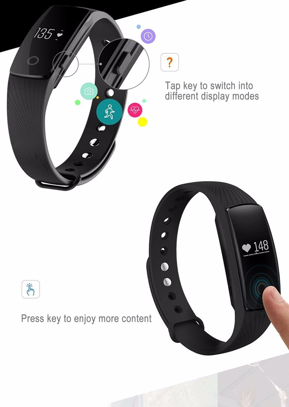 Bluetooth Smart Bnad Sport Fitness Tracker Heart Rate Monitor Bracelet Wristband Pedometer Watch Step Counter For iPhone/Samsung