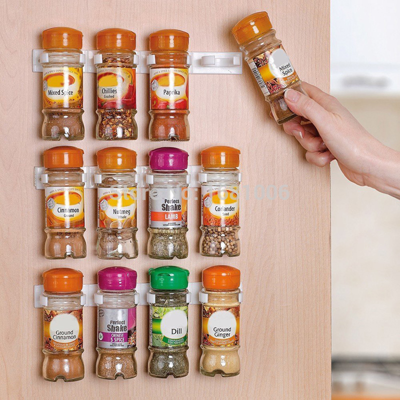 Spice wall Rack Storage plastic Kitchen organizer 12 Cabinet Door hooks 3PCS/SET S002(China (Mainland))