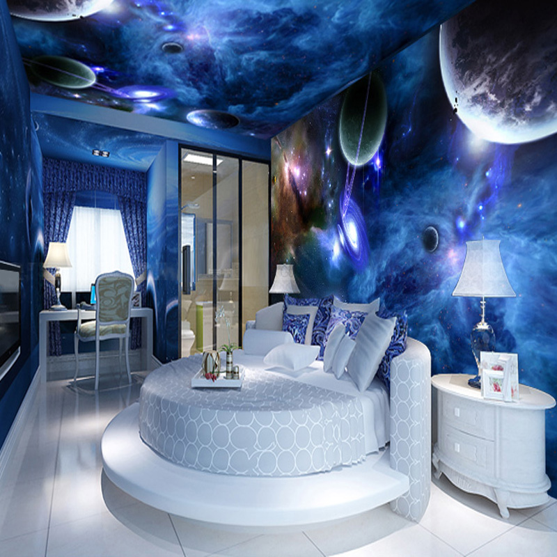 custom 3d stereo wallpaper living room bedroom suspended ceiling 3d murals star planet universe. Black Bedroom Furniture Sets. Home Design Ideas