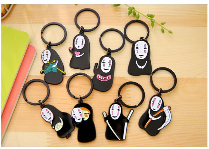 1 pcs Random PVC No face man keychain Japanese font b Anime b font Miyazaki Spirited