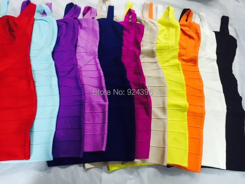 free shipping Spaghetti Strap 2014 Women Bodycon HL Bandage Dress Multi White Yellow Orange Purple Blue Red(China (Mainland))