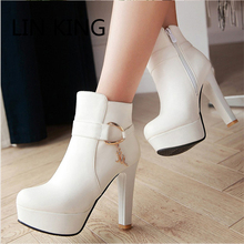 Buy LIN KING New Arrival Women High Heel Boots Round Toe Square Heel Solid Ankle Boots Warm Winter Zipper PU Platform Short Boots for $41.64 in AliExpress store