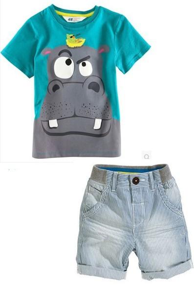 XT-0750 Free Shipping New Hot Selling Top Quality Children Sets Baby Boys Suits Short T-shirt + Short Pants Kids Clothing Sets(China (Mainland))