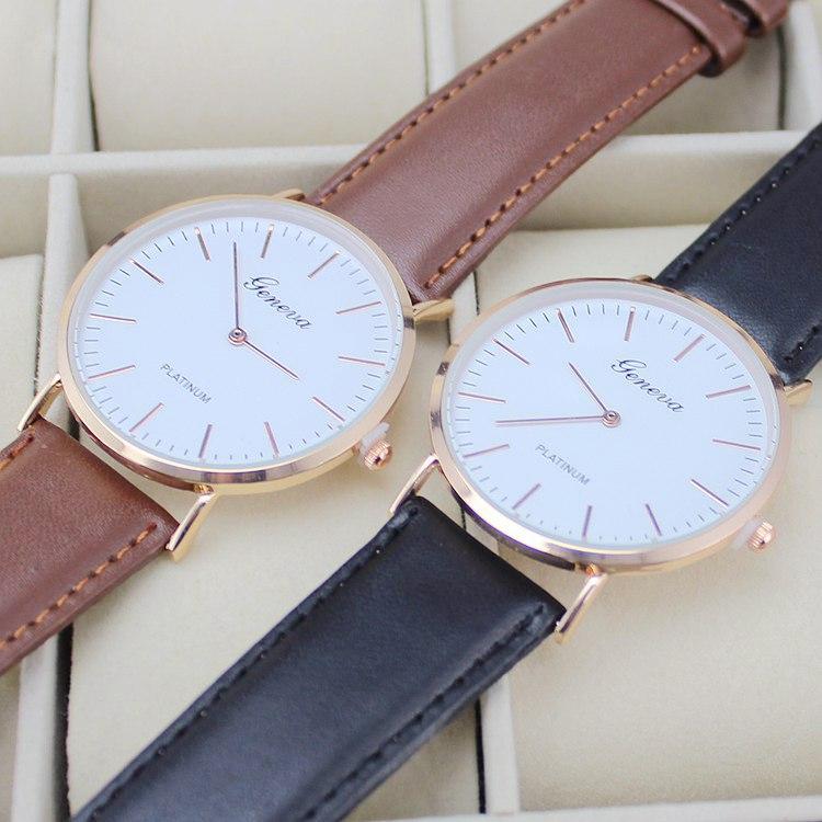 simple style clock men casual fashion watches leather strap gold case wristwatches Quartz Unisex Analog Geneva