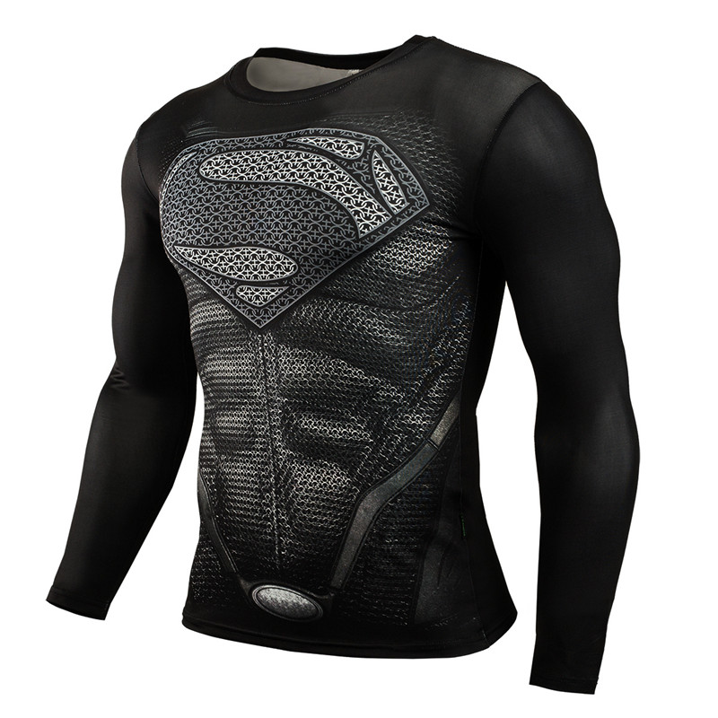 Male Sport Fitness Compression Shirt Men 2016 Superman Bodybuilding Long Sleeve 3D T Shirt Gym Crossfit Running T-Shirt Tops(China (Mainland))