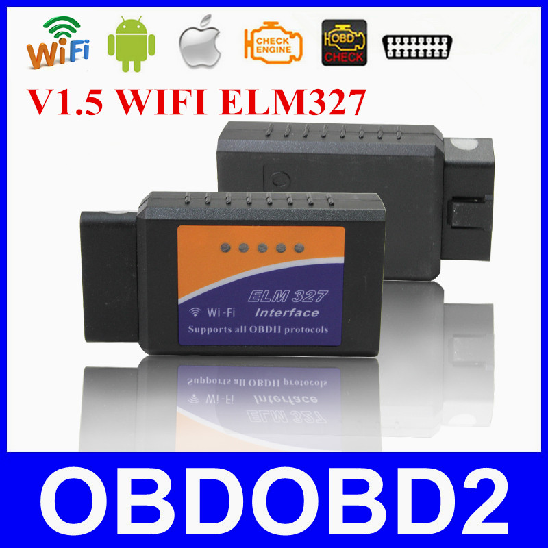 ELM327 WIFI Interface V1.5 For iOS&Android Suports All OBDII Protocols ELM 327 WIFI Connection OBD2 Code Reader Free Shipping(China (Mainland))