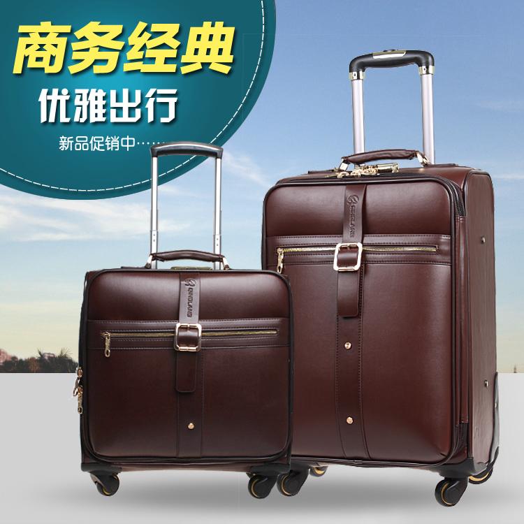 Free shipping women & men PU leather trolley luggage travel bag 16, 20, 24 inch, black, coffee luggage trolley luggage(China (Mainland))