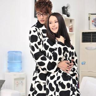 2013 lovers COUPLE cows coral fleece sleepwear bathrobes robe lounge sleepwear Autumn winter spring home wear sleeping  XSJ015