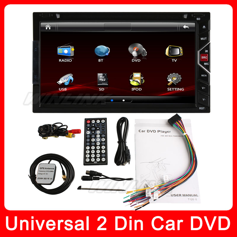 "2015 Newest 6.9"" In Dash Gesture Control 2 two Din Universal Car DVD Player GPS Radio Stereo HD digital screen Ipod BT SD+Camera(China (Mainland))"