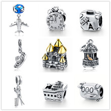 Buy New Authentic 925 Sterling Silver Charm Beads Plane Clock Crown House Birdcage Beads Fit Pandora Bracelet charm DIY Jewelry Gift for $6.53 in AliExpress store