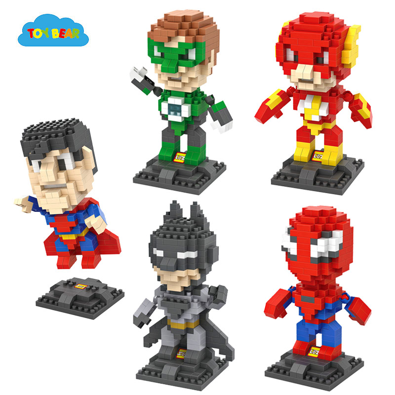 Loz DC Marvel Super Heroes Building Block Sets Superman V Batman Flash SpiderMan Green Lantern Bricks Toys For Children Kids toy(China (Mainland))