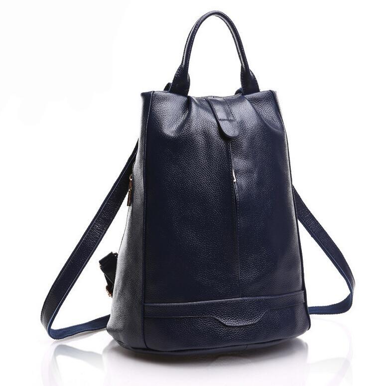 New High Quality Genuine Leather Backpack Fashion Womens Shoulder Travel Bags Preppy Style Zipper School Bag mochila feminina<br><br>Aliexpress
