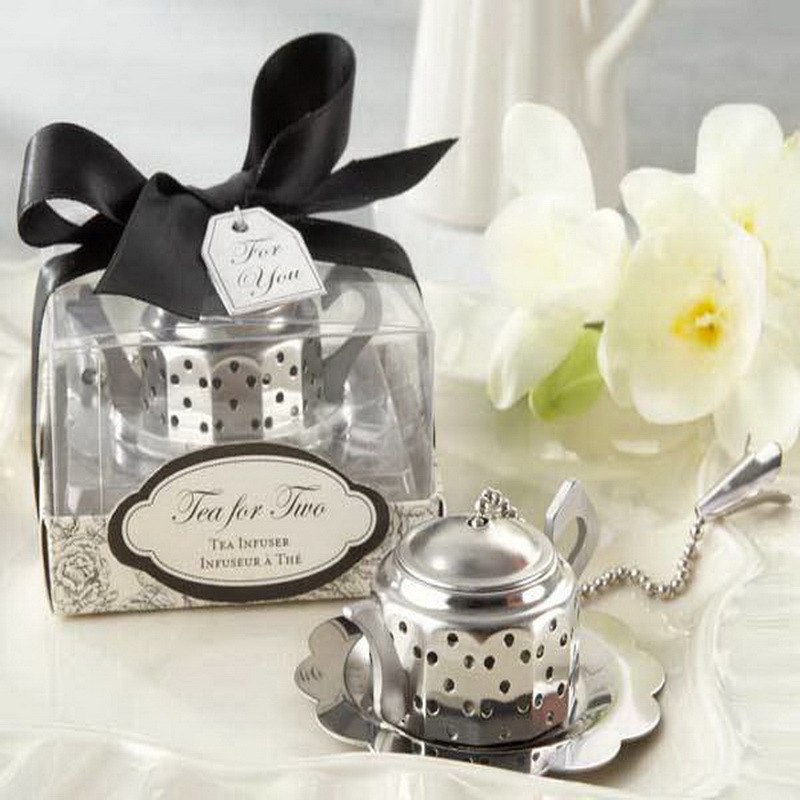 NEW ARRIVAL High Quality Tea Time Teapot Tea Infuser Wedding Gift Infuser Favors 100sets Lot