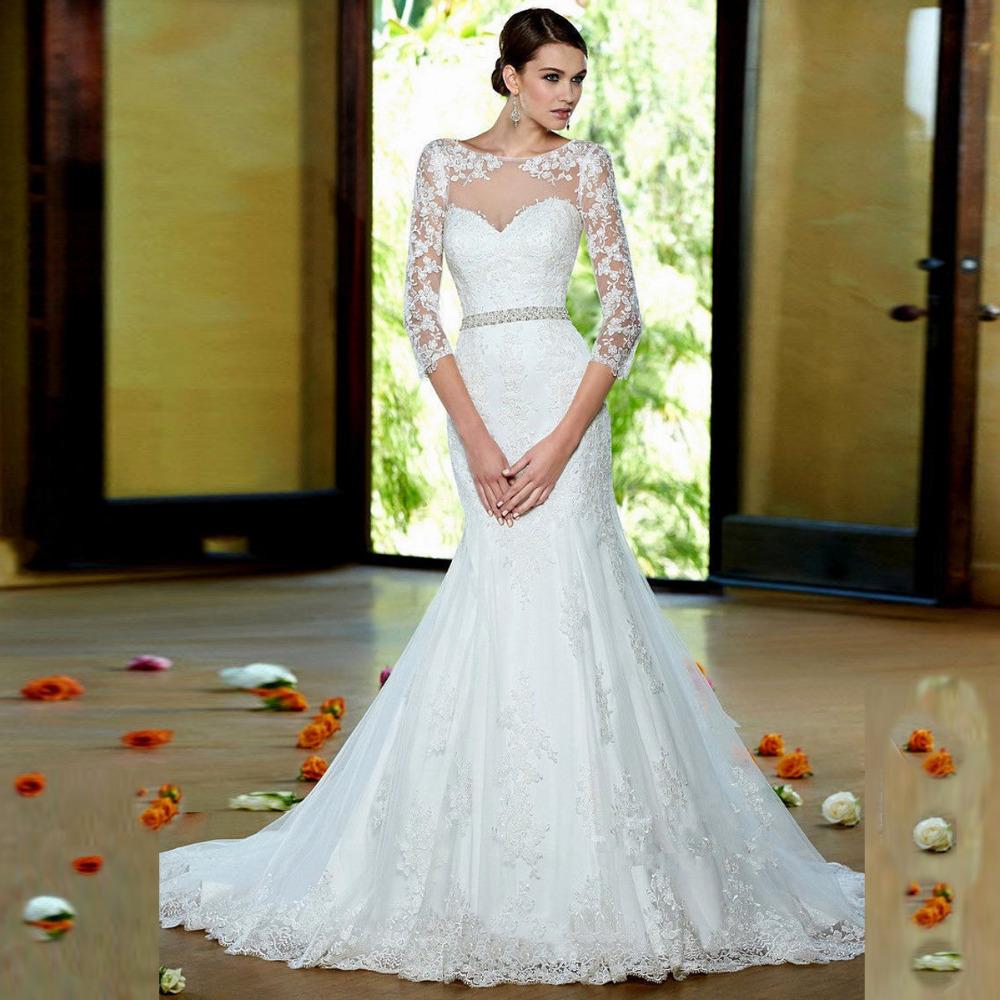 2016 Vestido Novia новинка кружева аппликация пояса три четверти рукава суд поезд русалка свадебное платье