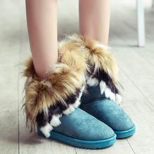 2016 nuevo Otoño y El invierno de la borla de Imitación de piel de zorro Conejo botas de nieve antideslizante Botas de mujer zapatos Calientes de la mujer Zapatillas Mujer(China (Mainland))