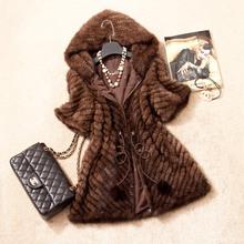 Spring Autumn Women's Genuine Real Knitted Mink Fur Coat Jacket Short Sleeve Winter Women Fur Outerwear Coats Overcoat 3XL 1372(China (Mainland))