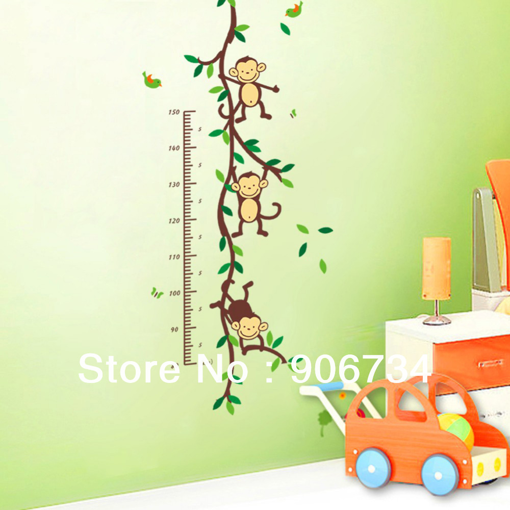 New Free ShippingHot Sell Monkey Forest Removable Vinyl Wall Decal Stickers Kids Height Chart Measure(China (Mainland))