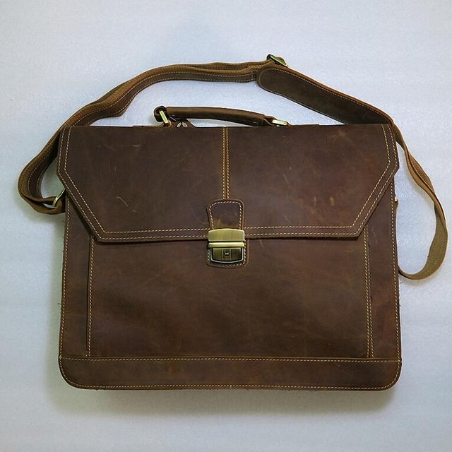 Высокий Класс натуральная кожа портфель мужской crazy horse кожа ноутбука сумки портфель ...
