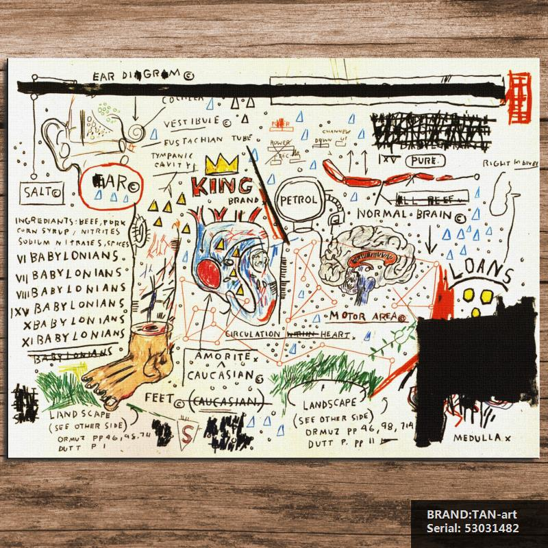 GRAFFITI ART POSTER PRINT ON CANVAS kingbrand BY Jean Michel Basquiat NeoExpressionism FOR HOME DECORATION 53031482(China (Mainland))