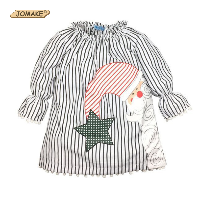 Christmas Striped Girl Dress Spring New Classic Brand Girls Clothing Cute Santa Claus Long Sleeve Children Dresses Kids Clothes(China (Mainland))