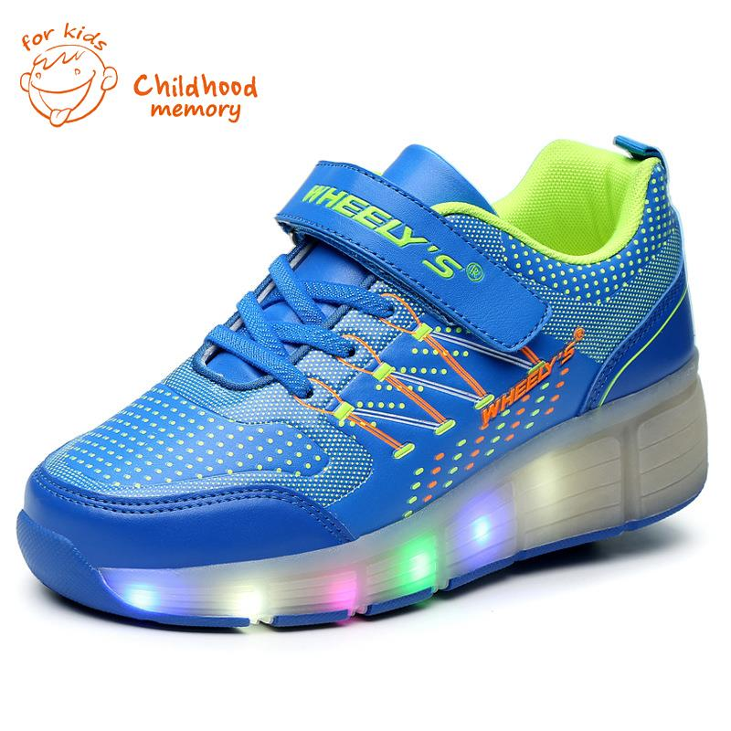 Classic Heelys Baby Roller Shoes Boy&Girl Automatic LED Lighted Flashing Skates Fashion Sneakers Wheel Chaussure Enfant - Childhood Memory 1 store