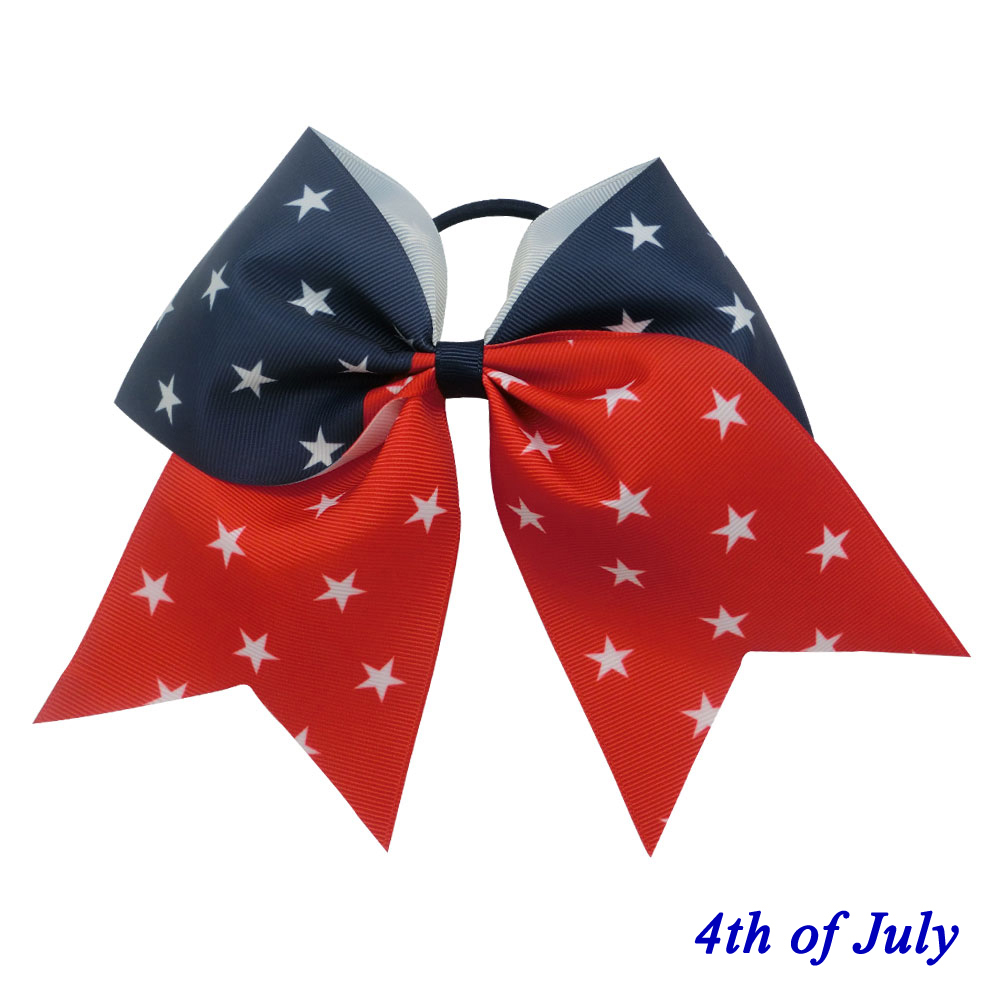 4th of July Patriotic Scrunchy Girls Kids Cheer Hair Bow Handmade Hairbow Hair Band Hair Tie Rope Ponytail Holder 2PCS(China (Mainland))