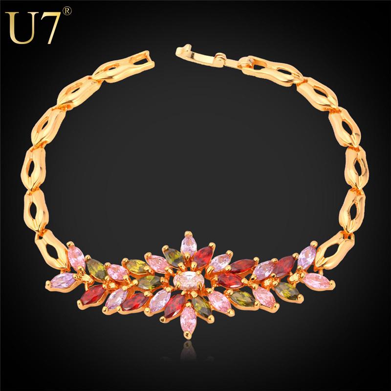 Luxury Zirconia Bracelet Women Gift New Trendy 18K Real Gold Plated Colorful AAA Zircon Flower Jewelry 18 CM Chain Bracelet H556(China (Mainland))
