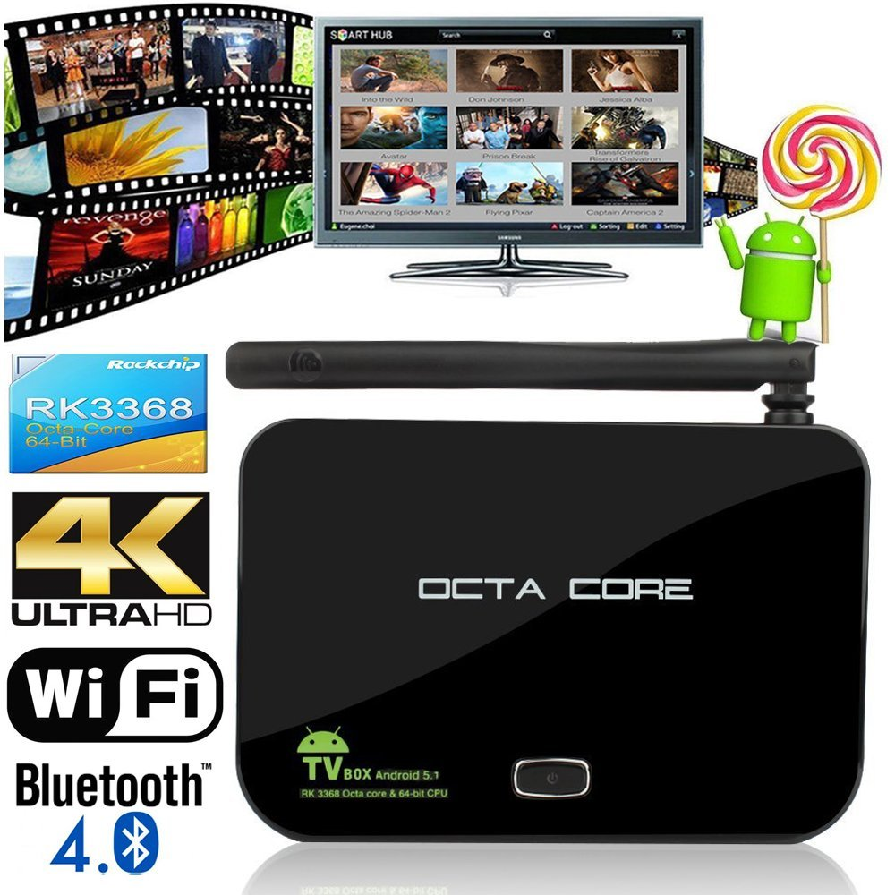 New Z4 RK3368 TV Box Android 5.1 Octa Core 2GB 16GB 4K Bluetooth 2.4G/5G dual Wifi 3D Moive Smart Media Player Kodi Fully Loaded(China (Mainland))