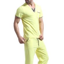 Men Cotton Pajamas Set Tshirts Long Pants Sleep Bottoms Yoga Brand Sleepwear Men Undershirts Tees Casual Short Sleeve O neck(China (Mainland))