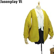 Jasonplay & 2016 new fashion jinger women sweater thick v-neck lovely cardigan autumn winter sweater cardigan PL212(China (Mainland))