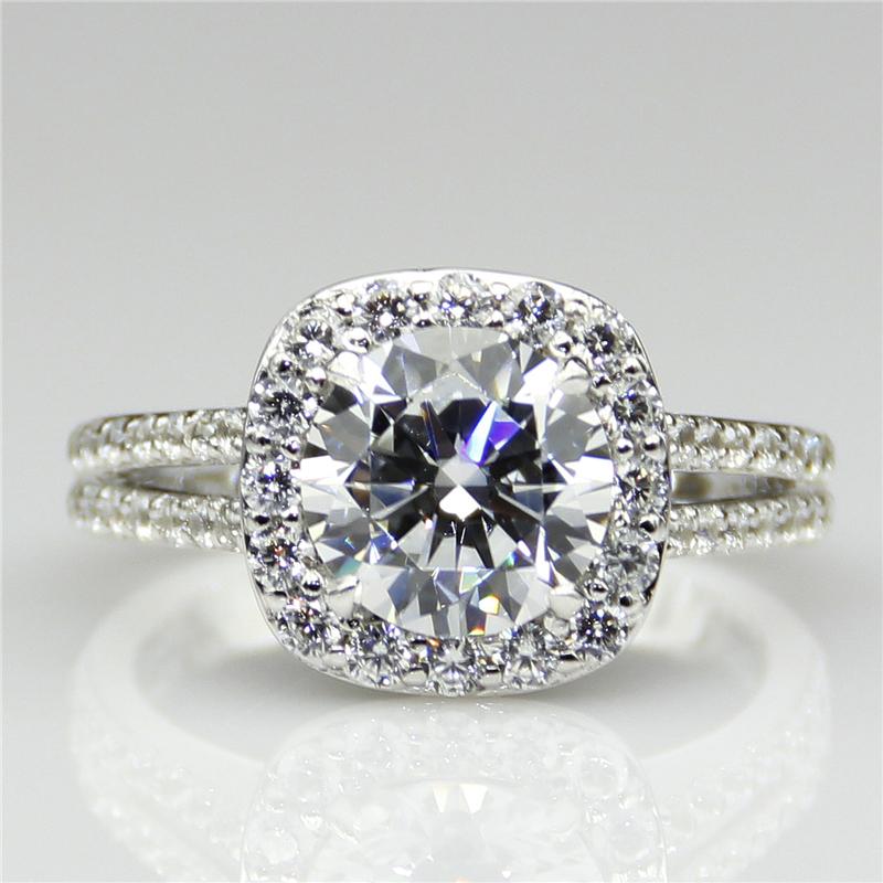 LASAMERO Cushion Cut 2 00ct Diamond Ring Split Shanks Halo Engagement Ring Di
