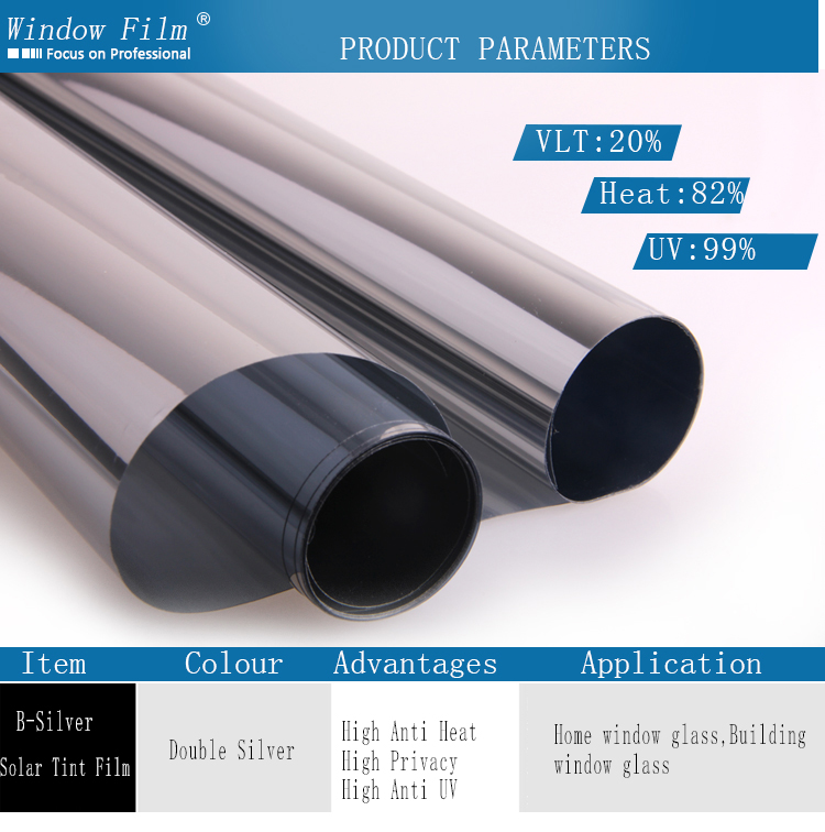 Double Silver One Way Mirror Reflective Solar Window Film 15*1.52 meter roll(China (Mainland))