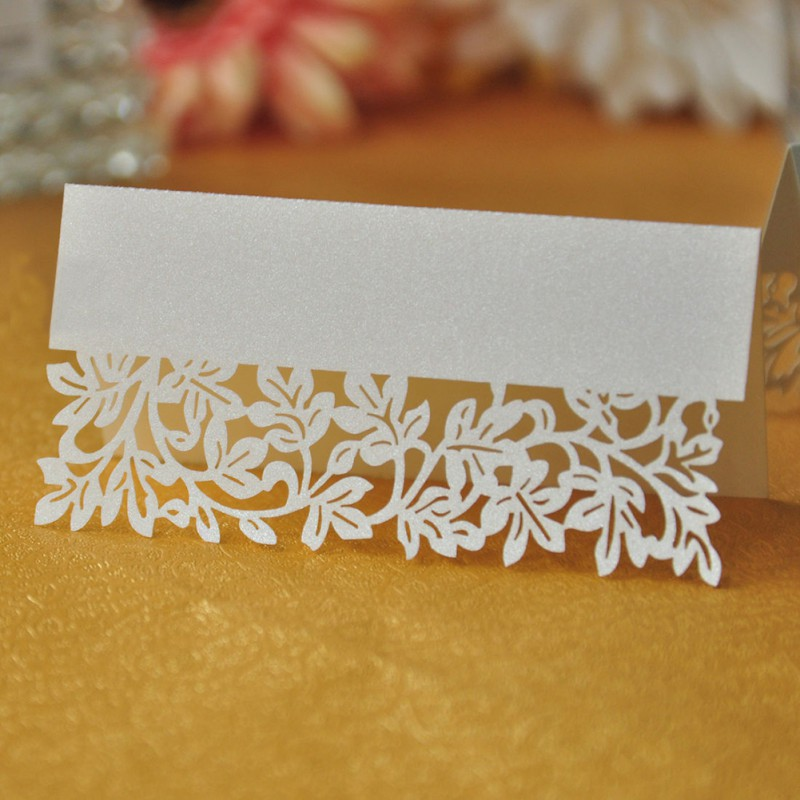 36pcs Ivory Leaf Table Name Place Card Recycled Paper Ideal For Party Or Wedding Lace Cut Cards L1(China (Mainland))