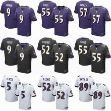 2016 Uomini Baltimore Ravens #9 Justin Tucker #5 Joe Flacco #57 CJ. Mosley #89 Smith_Sr Viola Nero Bianco, 100% logo cucito(China (Mainland))